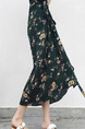 Green Colorful One-Piece Band Printed Floral Skirt for Casual Beach